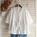 【2017SS新作】半袖・フラワー刺繍・フェミニンシャツ・ブラウス