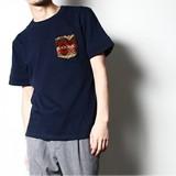 【2017SS新作】総柄ポケット付クルーネック半袖シャツ