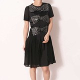 Fabric Short Sleeve Ribbon Attached One-piece Dress