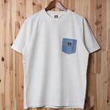【2017SS新作】デニムポケット付き 半袖Tシャツ