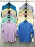 七分袖【人気定番商品】綿 チュール ニット 七分袖 ボトルネック Tシャツ