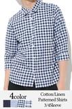 ◆2017春夏新作◆綿麻ストレッチ柄込みシャツ(七分袖)◇全4色◇