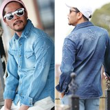 2017 S/S Men's Star Button Star Patchwork Denim Shirt Indigo S/S