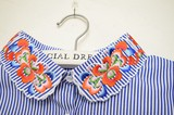 Stripe Fabric Flower Embroidery Fashion Detachable Collar