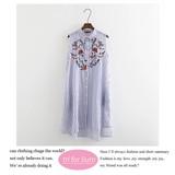 【2017SS新作】刺繡デザイン 綿素材シャツカラーワンピース