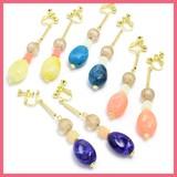 Oval Beads Falling Motif Earring