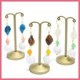 Wave Oval Beads Beads Falling Pierced Earring