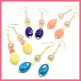 Oval Beads Falling Motif Pierced Earring