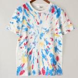 スプラッシュプリントラウンドネック半袖Tシャツ