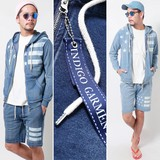 2017 S/S Men's Indigo Cut Denim Stars And Stripes Suit Set Hoody Shor Pants