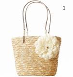 2017 自然素材 花付きカゴバッグ かわいい 5色