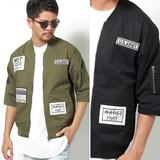 【2017SS新作】 メンズ ワッペン6分袖MA-1ジャケット