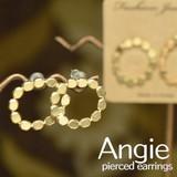 再入荷【Angie】 無垢真鍮 マルマルサークル ゴールド ピアス!シンプル&フェミニン
