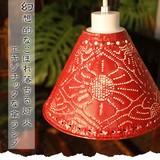幻想的なこぼれ落ちる灯火…エキゾチックな傘ランプ【フラワーデザインアルミ傘ランプ】アジアン雑貨