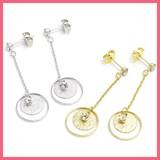 Falling Double Circle Motif Pierced Earring