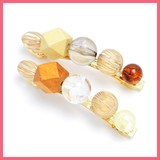 Square Shape Wood Ball Mix Beads Barrette