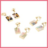 Bi-Color Marble Square Earring