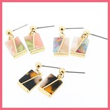 Bi-Color Marble Square Pierced Earring