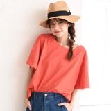 ◆[綿100%]変形フレアスリーブTシャツ/袖コンシャス/半袖/クルーネック/コットン◆426290