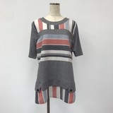 Material Switching Pattern Short Sleeve Tunic