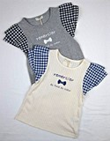 Gingham Frill Needle Punching Card Short Sleeve T-shirt