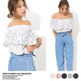 2017 S/S Print Frill Off-Shoulder Blouse