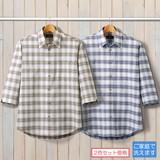 メンズ/麻混しじら織りチェック柄7分袖シャツ2色組