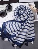 【春めき】スカーフ 横柄 タッセル 肩掛け