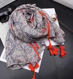 【春めき】スカーフ 5色 タッセル 肩掛け