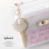 Shell Pearl Motif Clear Bag Charm Key Ring Gold Silver