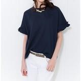【80%OFF】袖フリルTシャツ