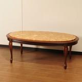 【イタリア製家具】 センターテーブル(茶枠・大理石・楕円)(直送可能)