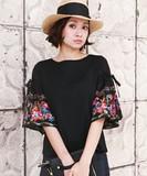 花柄刺繍 ボリュームスリーブTシャツ【2017年春夏新作】【即納】