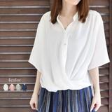 【2017春夏新作】スタンド衿カシュクールシャツプルオーバー♪