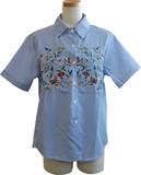 ヨーク小花刺繍半袖シャツ
