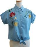 ダンガリー フロントリボン結び 胸元刺繍半袖シャツ