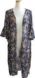 ◆追加生産中◆ 【売れ筋】エスニック柄 フレア袖 裾両開きロングジレカーディガン