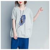 【再入荷】羽刺繍柄ドルマンTシャツ/SSセール