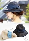 ストライプ布ハット ハット 帽子 リボン付き ストライプ uv 折りたたみ 紫外線対策