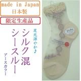 【日本製☆限定品☆絹】婦人 シルク混 デザイン シースルーソックス(アースカラー)