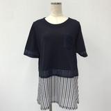 Plain Stripe Switching Short Sleeve Tunic