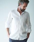 日本縫製リネンカッタウェイ先染め無地長袖シャツ