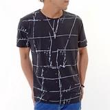 Checkered Pattern Print Short Sleeve T-shirt