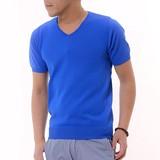 Summer Knitted V-neck Short Sleeve T-shirt