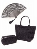 Formal Lace Folding Fan Tote Pouch Set