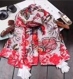 【春めき】スカーフ 肩掛け レッド