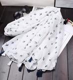 【春めき】スカーフ 肩掛け ホワイト 水玉 清潔感 ブルータッセル