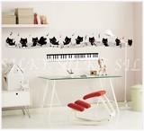 【キティーピアノアンサンブル】 猫 音符 音楽教室 鍵盤 楽譜 ウォール シール 北欧 はがせる 壁シール