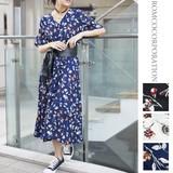 Print Water Flower Short Sleeve Robe One-piece Dress