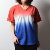 2017 S/S Ladies Bi-Color Dyeing V-neck Short Sleeve T-shirt